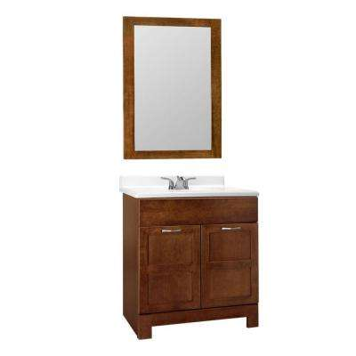 Casual 30 in. W x 21 in. D x 33.5 in. H Bath Vanity Cabinet Only with Mirror in Cognac