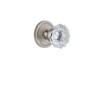Circulaire Rosette 2-3/4 in. Backset Satin Nickel Privacy Bed/Bath with Fontainebleau Crystal Door Knob