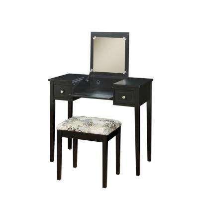 Black Bedroom Vanity Table with Butterfly Bench