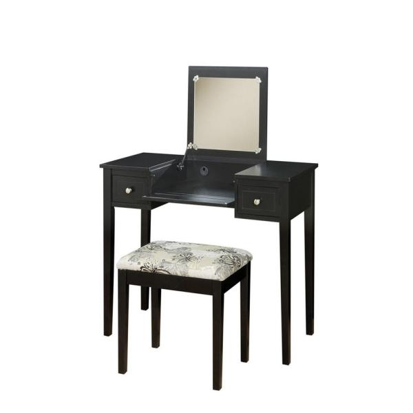 Superieur Linon Home Decor Black Bedroom Vanity Table With Butterfly Bench
