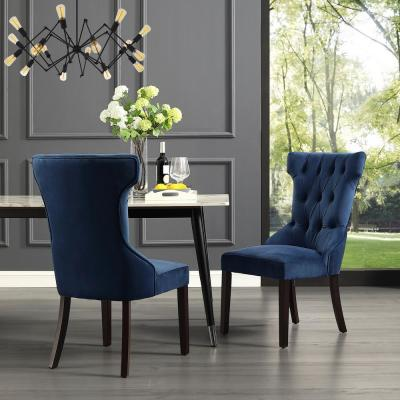 Inspired Home Ximena Navy Velvet Button Tufted Armless Dining Chair Set Of 2 Ad90 02ny2 Hd The Home Depot