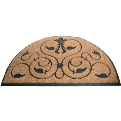 Brigoder 48 in. x 30 in. Natural Brushed Rubber Backed Coir Door Mat