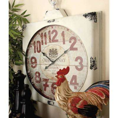 36 in. x 32 in. Vintage London Square Wall Clock