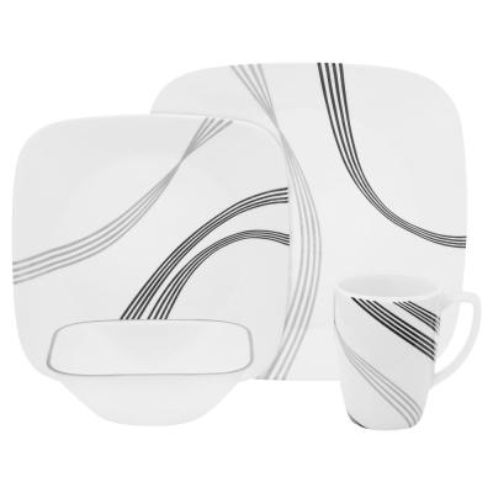 Boutique 16-Piece Modern Urban Arc Porcelain Dinnerware Set (Service for 4)