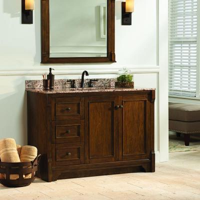Creedmoor 48 in. W x 34 in. H Vanity Cabinet Only in Walnut Left Hand Drawers