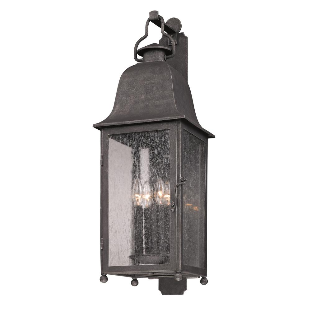 Larchmont 4-Light Aged Pewter Outdoor Wall Lantern Sconce