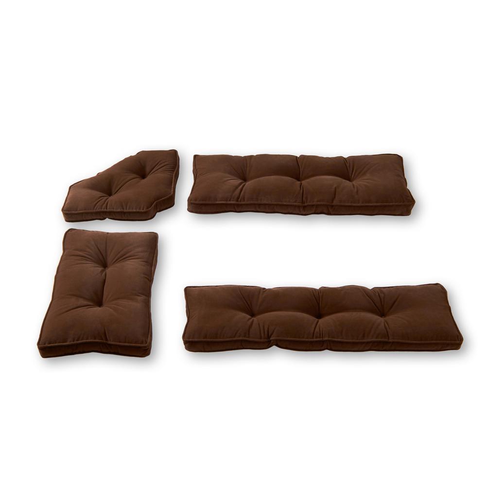 Hyatt Chocolate 4-Piece Microfiber Kitchen Nook Cushion Set
