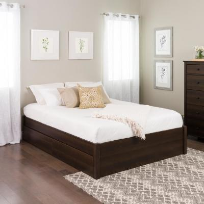 Select Espresso Queen 4-Post Platform Bed with 2-Drawers