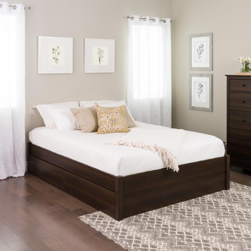 Prepac Select Espresso Queen 4 Post Platform Bed With 2