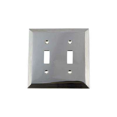 Deco Switch Plate with Double Toggle in Bright Chrome