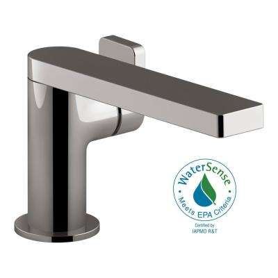 Composed Single Hole Single-Handle Bathroom Faucet with Lever Handle and Drain in Titanium