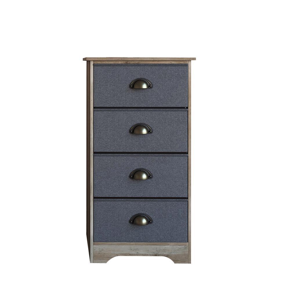 Calvin 4-Drawer Antique Dry Brown Oak Wood Dresser with Brass Metal Handle