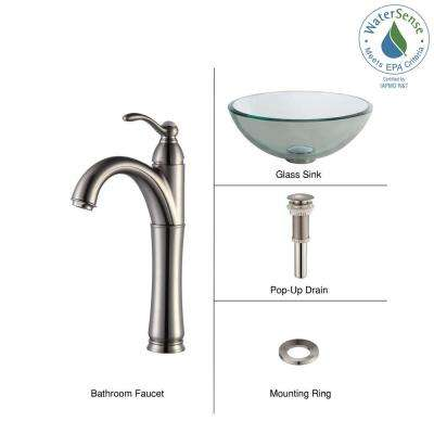 Glass Vessel Sink with Single Hole Single-Handle High-Arc Riviera Faucet in Satin Nickel
