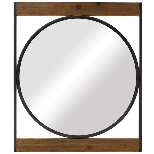 Decorative 22 in. x 19 in. Rustic Square MetalandWood Frame Wall Mirror