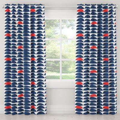 50 in. W x 96 in. L Blackout Curtain in Halfmoon Navy Red