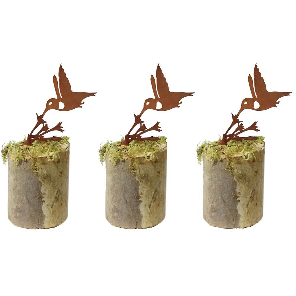 4 in. Tall Metal Rustic Look Artwork Humming Bird Silhouettes (Set of 3)
