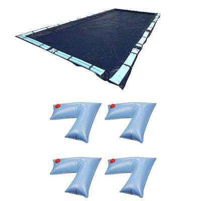 18 ft. x 36 ft. Rectangular In Ground Pool Winter Cover Plus Corner Water Tube Cover Weights (4-Pack)