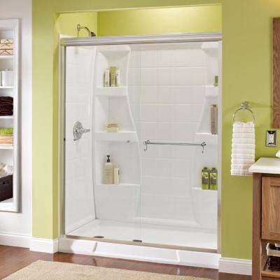 Portman 60 in. x 70 in. Semi-Frameless Sliding Shower Door in Chrome with Clear Glass
