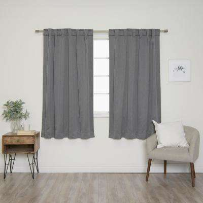 Heathered Linen Look 52 in. W X 63 in. L Back Tab Blackout Curtains in Grey (2- Pack)