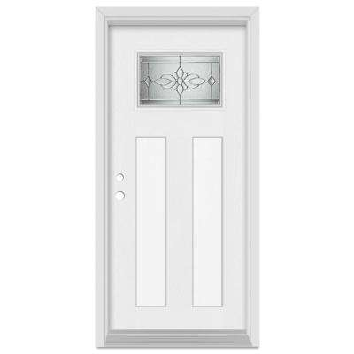 33.375 in. x 83 in. Victoria Right-Hand Finished Fiberglass Mahogany Woodgrain Prehung Front Door Brickmould