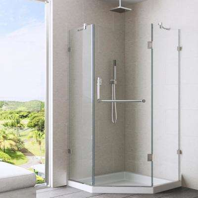 Piedmont 38.125 in. x 38.125 in. x 76.75 in. Frameless Neo-Angle Shower Kit in Chrome with Base in White