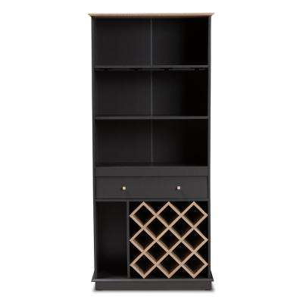 Mattia 13-Bottle Dark Gray and Oak Brown Wine Cabinet