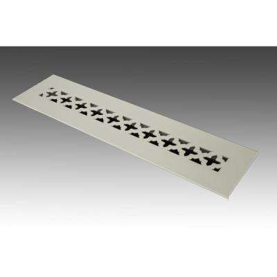 14 in. x 2.25 in. White Poweder Coat Steel Floor Vent with Opposed Blade Damper