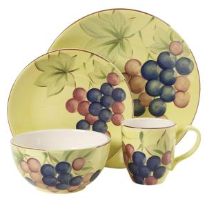 Click here to buy Gibson Home Fruitful Harvest 16-Piece Grapes Dinnerware Set by Gibson Home.