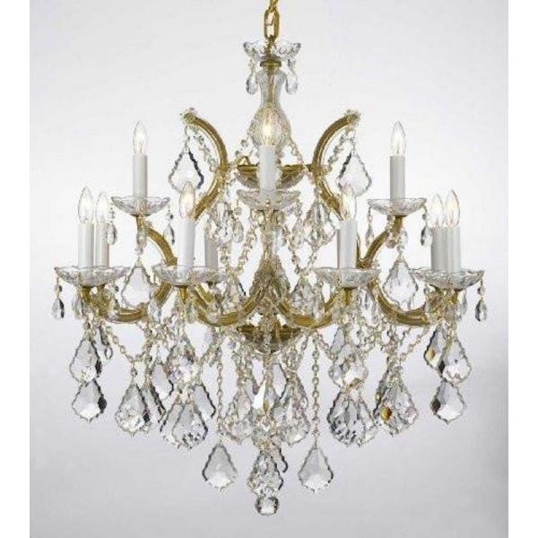 Harrison Lane Maria Theresa 13 Light Gold Candle Style Chandelier Trimmed With Swarovski Crystal T22 1550 The Home Depot