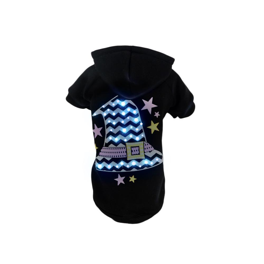 Large Black LED Lighting Santa's Magical Hat Sweater Pet Hoodie