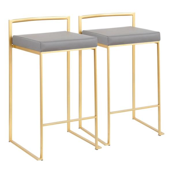 Fuji 26 in. Gold Stackable Counter Stool with Grey Faux Leather Cushion (Set of 2)