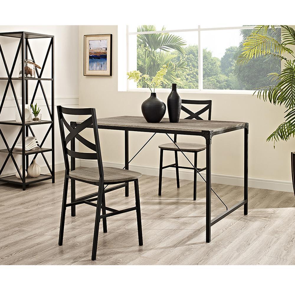 Walker Edison Furniture Company Angle Iron 5 Piece Driftwood Wood Dining Set
