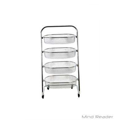 4 Tier Metal 4-Wheeled All-Purpose Basket Cart in Silver