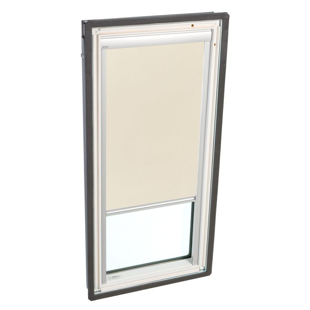 VELUX Truss Series 22-1/2 x 45-3/4 in. Fixed Deck-Mount Skylight with Tempered LowE3 Glass Beige Solar Powered Blackout Blind