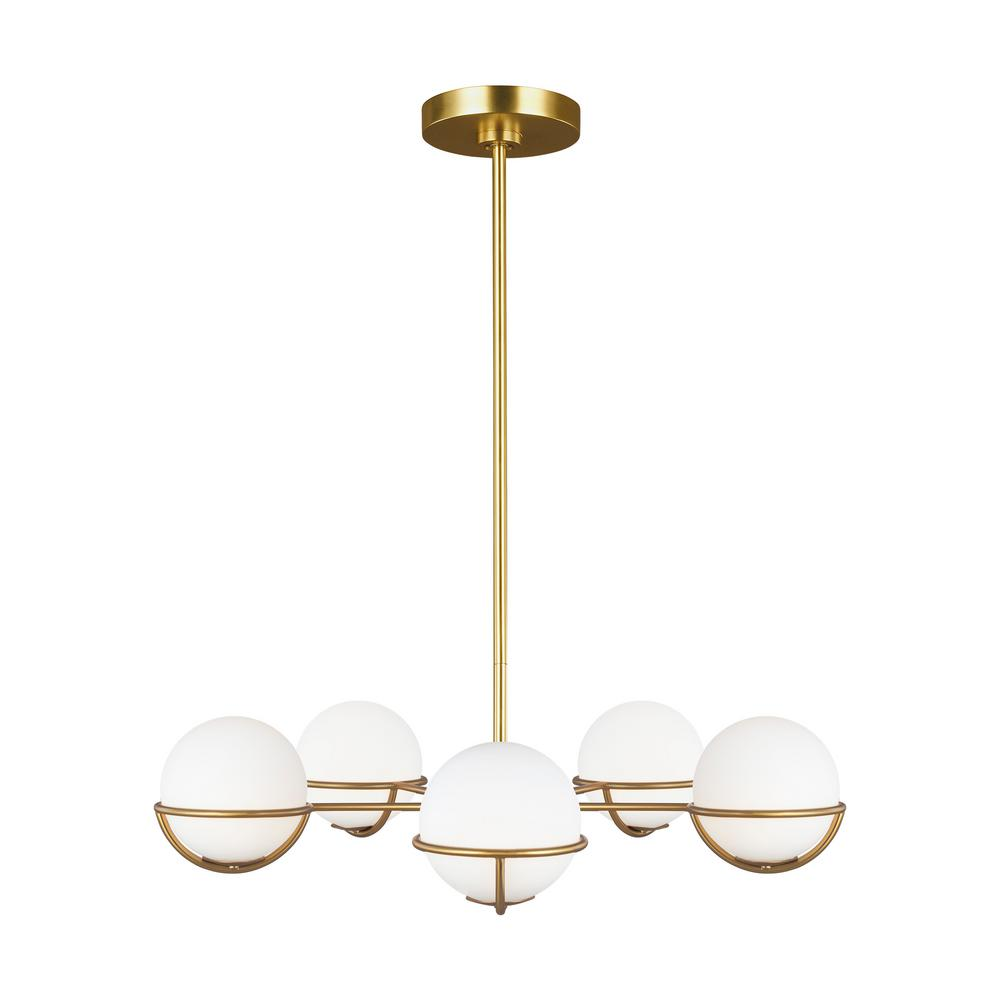 Generation Lighting Designer Collections ED Ellen DeGeneres Crafted by Generation Lighting Apollo 32 in. W 5-Light Burnished Brass Chandelier with Globe Shades