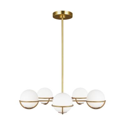 ED Ellen DeGeneres Crafted by Generation Lighting Apollo 32 in. W 5-Light Burnished Brass Chandelier with Globe Shades