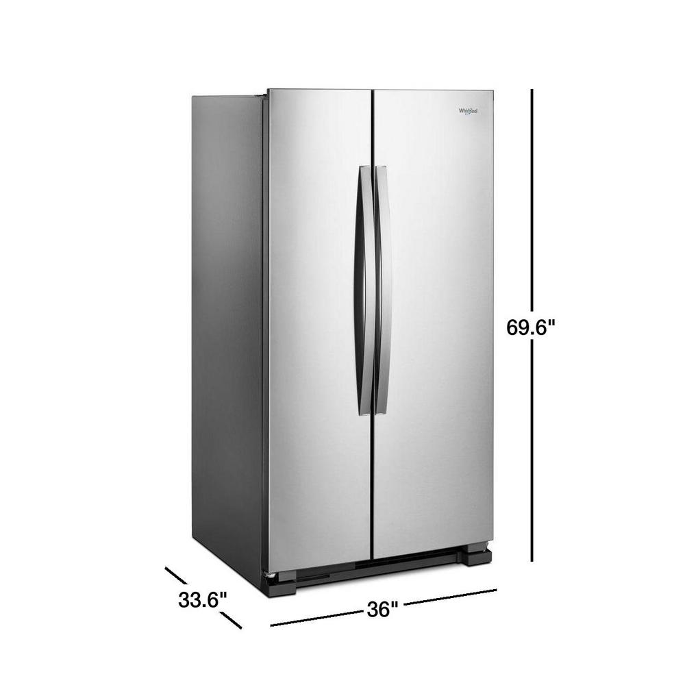 Whirlpool 25 Cu Ft Side By Refrigerator In Monochromatic Stainless Steel