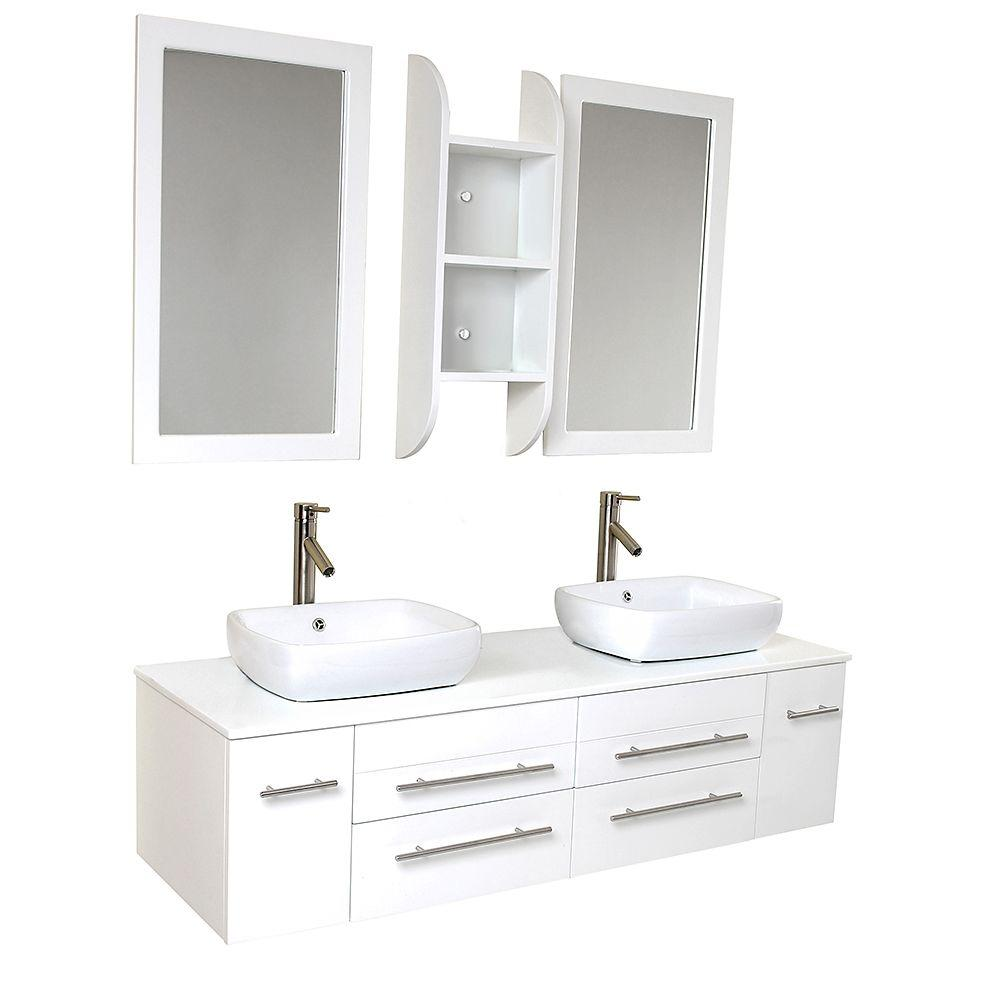 Fresca Bellezza 59 In. Double Vanity In White With Marble Vanity Top In  White With