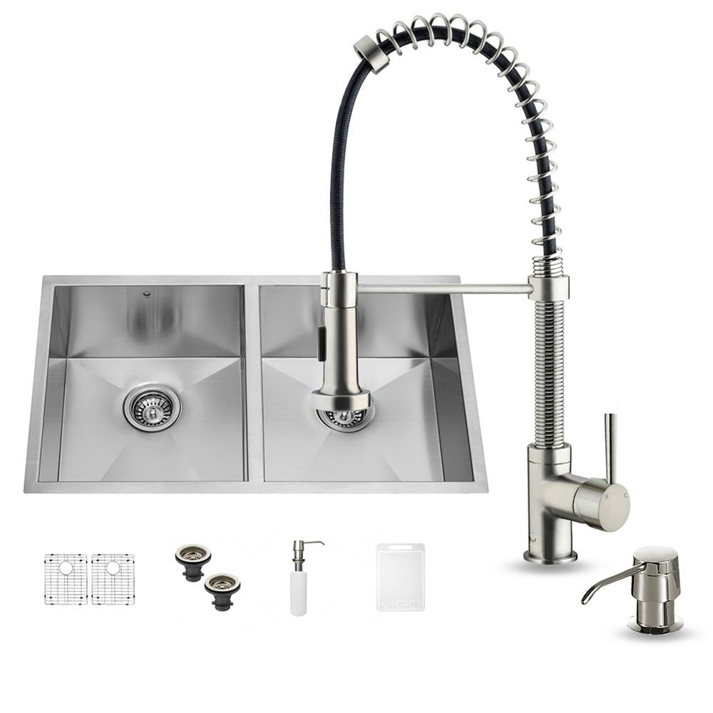 All-in-One Undermount Stainless Steel 32 in. Double Bowl Kitchen Sink in
