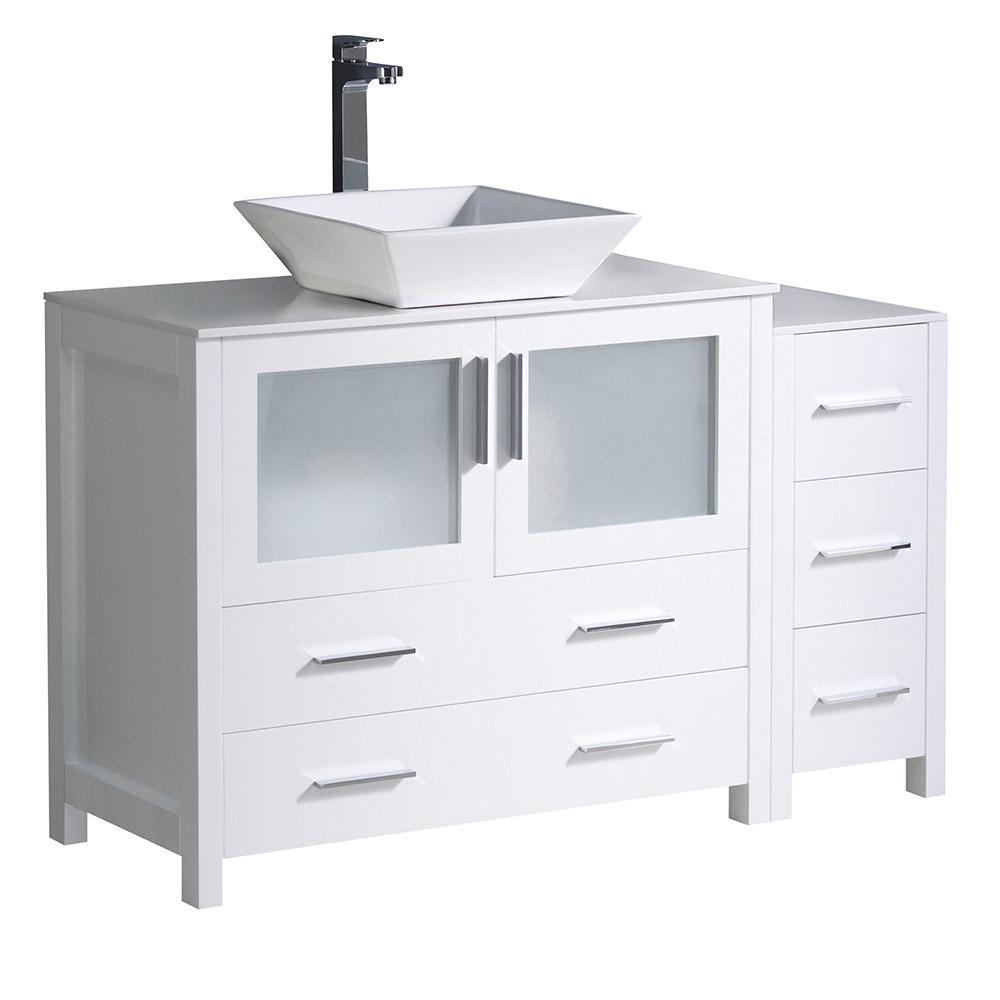 Torino 48 in. Bath Vanity in White with Ceramic Vanity Top in White with White Basin