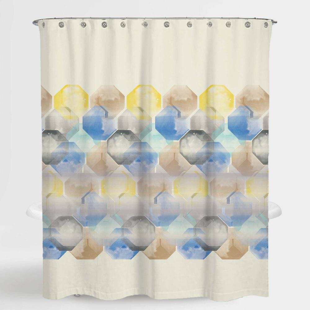 Geometric Multi Color Hexa Water Repellent Shower A1PSC015