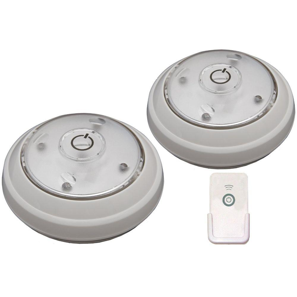 Rite Lite LED White Puck Light with Remote (2-Pack)-LPL622WRC - The ...