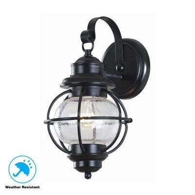 nautical ceiling light rope greer 1light black exterior wall lantern small with caged seeded glass coastalnautical lighting the home depot