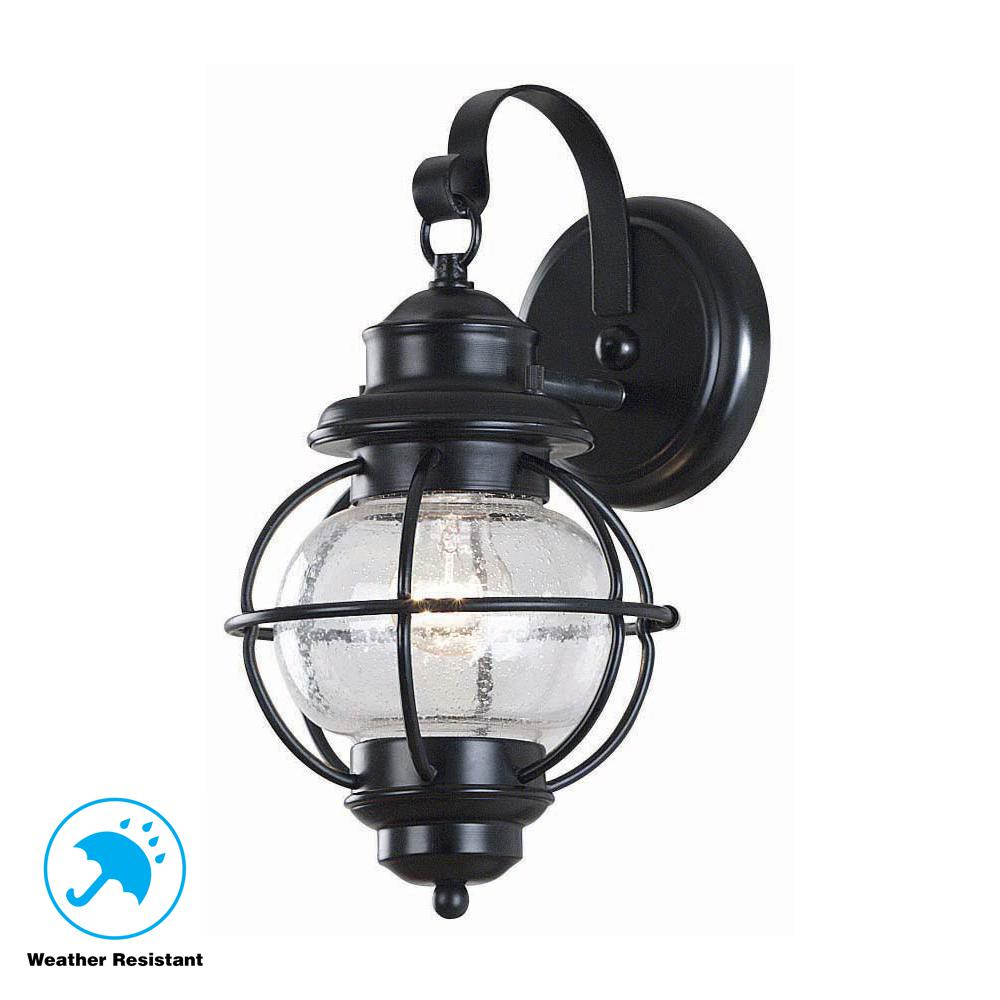 Home Decorators Collection Led Small Exterior Wall Light: Home Decorators Collection Greer 1-Light Black Exterior