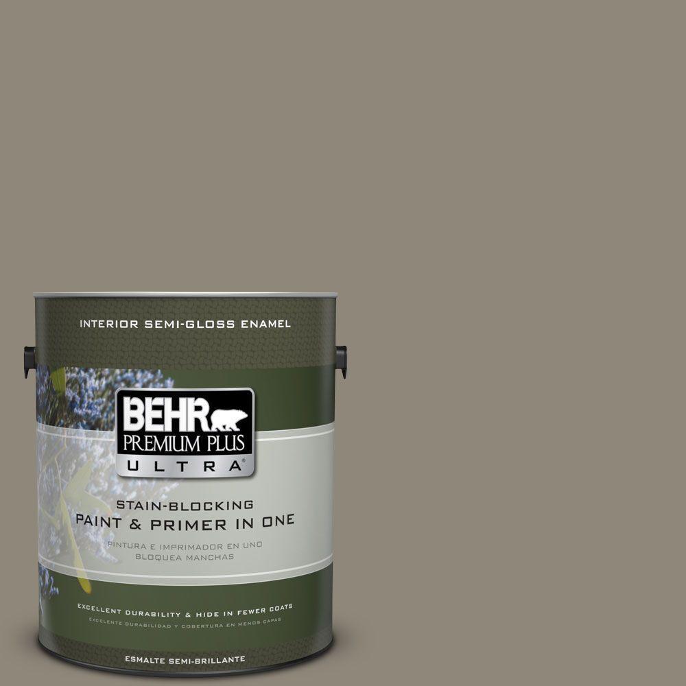 1 gal. #T16-08 Fifth Olive-Nue Semi-Gloss Enamel Interior Paint