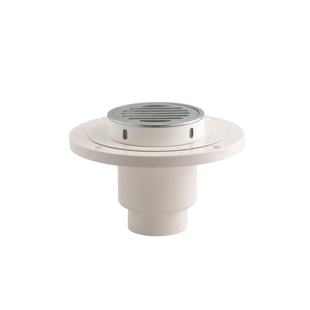 Wondercap 2 in. ABS Tile Shower Drain Outlet with Round Chrome Strainer