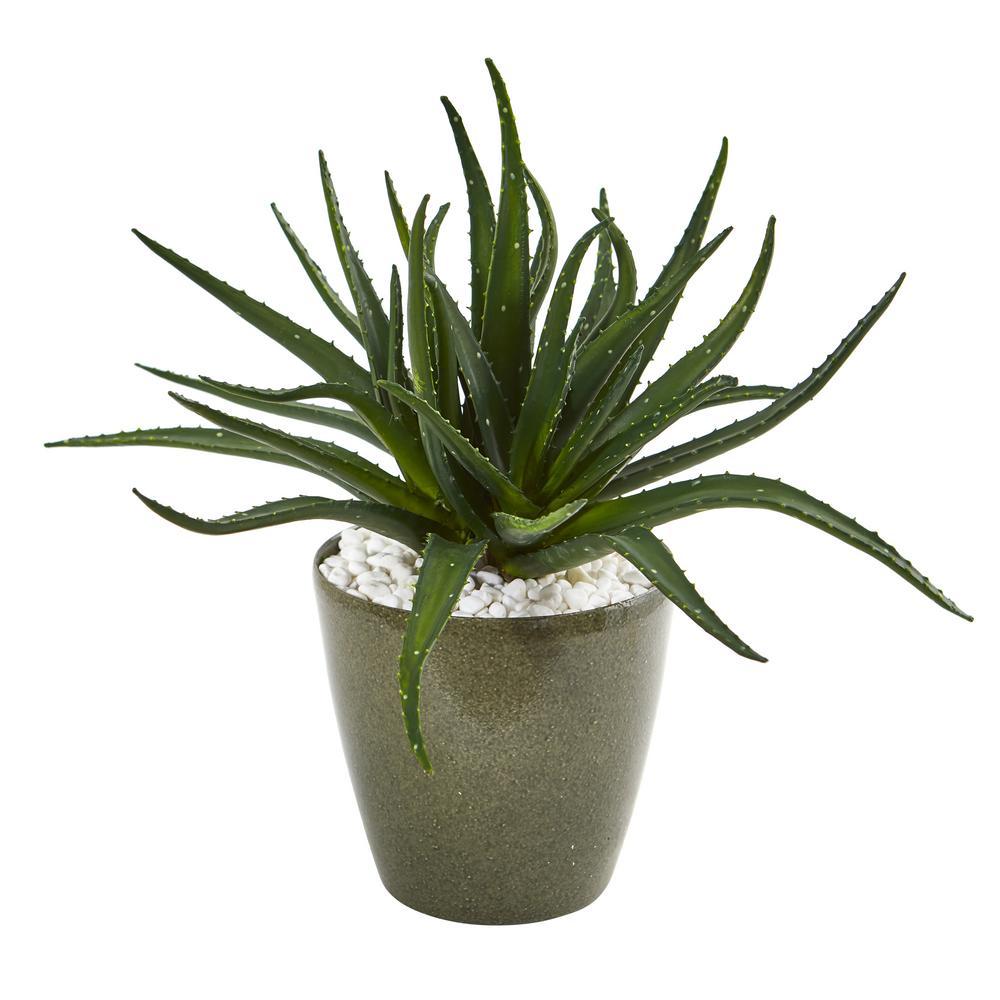 19 in. Aloe Artificial Plant in Decorative Planter
