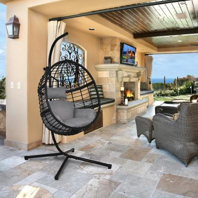 78 in. Black Steel Stand Wicker Outdoor Basket Swing Chair with Grey Cushions
