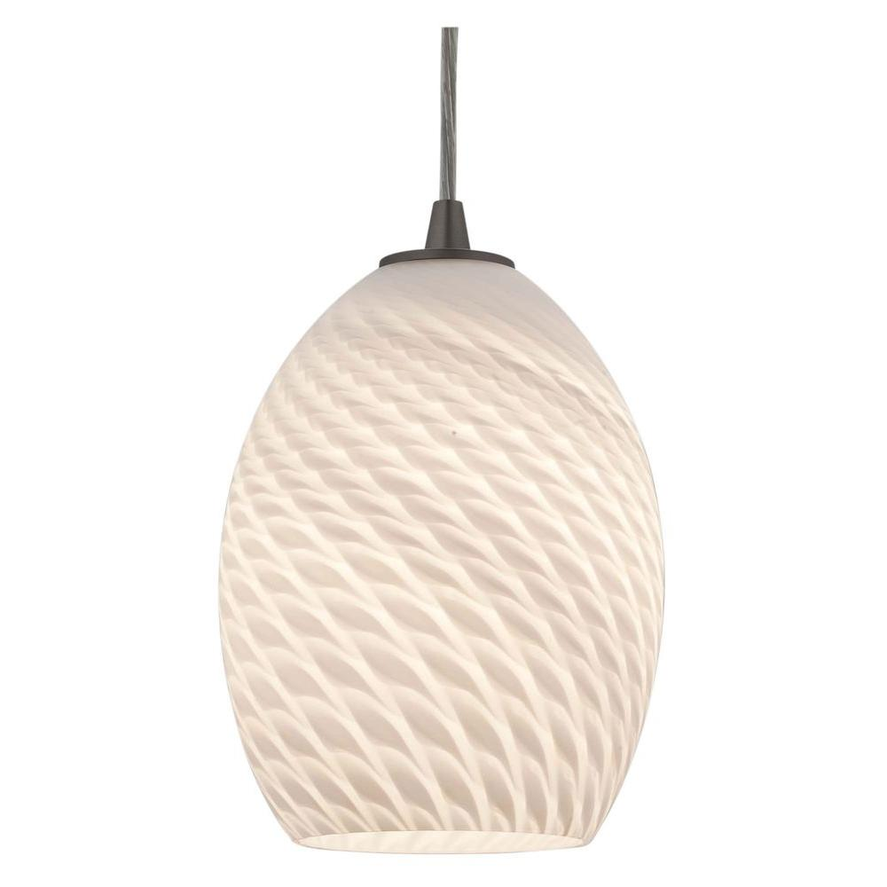 Access Lighting 1-Light Pendant Brushed Steel Finish White GlassFB-DISCONTINUED
