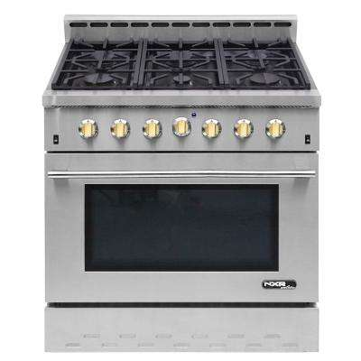 Entree 36 in. 5.5 cu. ft. Professional Style Gas Range with Convection Oven in Stainless Steel and Gold